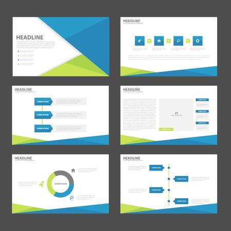Blue green presentation templates Infographic elements flat design set for brochure flyer leaflet marketing advertising