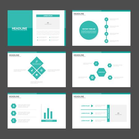 녹색 발표는 인포 그래픽 요소를 책자 전단지 전단지 마케팅 광고에 대한 평면 디자인 세트를 템플릿