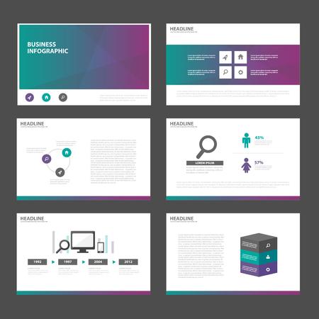 Green purple presentation templates Infographic elements flat design set for brochure flyer leaflet marketing advertising