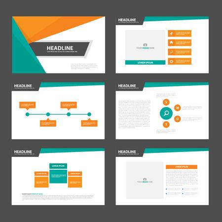 Green orange presentation templates Infographic elements flat design set for brochure flyer leaflet marketing advertising