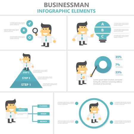 Businesman Infographic elements flat design set, man with light bulb, magnifier,webpage,pie chart