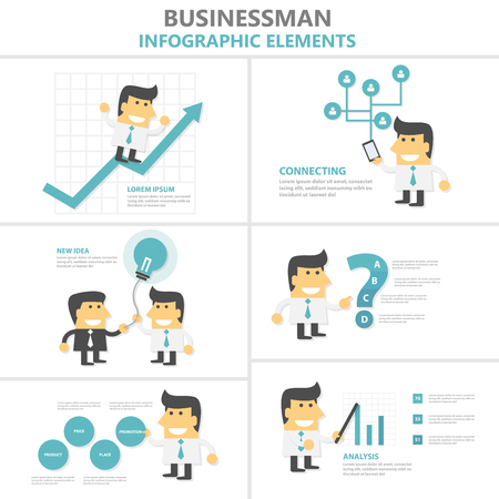 Businesman Infographic elements flat design cartoon set, man with smartphone, light bulb.stock graph 向量圖像