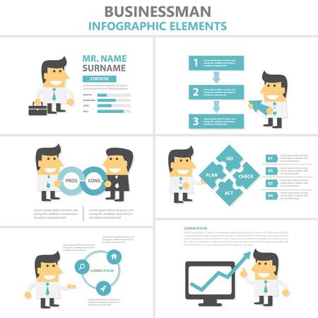 Businesman Infographic elementen plat ontwerp cartoon set Vector Illustratie
