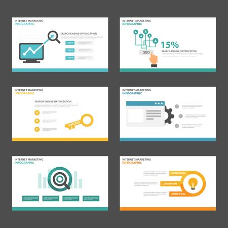 seo: Search engine optimization presentation templates Infographic elements flat design set for brochure flyer leaflet marketing advertising