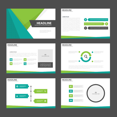Green presentation templates Infographic elements flat design set for brochure flyer leaflet marketing advertising Stock fotó - 54248683