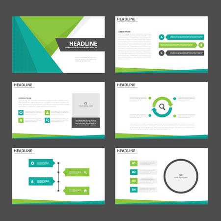 Green presentation templates Infographic elements flat design set for brochure flyer leaflet marketing advertising