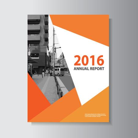 ベクトル チラシ パンフレット フライヤー テンプレート A4 サイズ デザイン、年次報告書本カバー レイアウト デザイン、オレンジの要約プレゼンテ  イラスト・ベクター素材