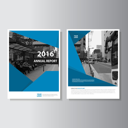 Vector Leaflet Brochure Flyer template A4 size design, annual report book cover layout design, Abstract blue presentation templates Stock Illustratie