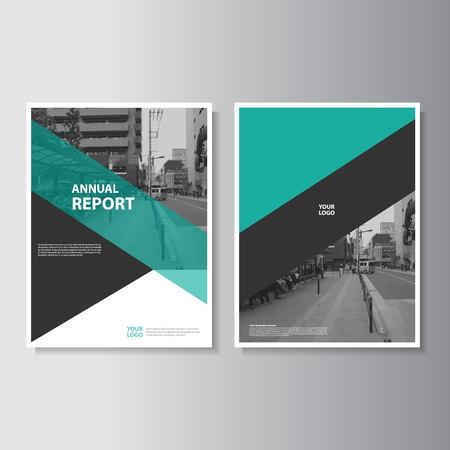 벡터 전단지 브로셔 전단 템플릿 A4 크기의 디자인, 연례 보고서 책 표지 레이아웃 디자인, 추상 녹색 프리젠 테이션 템플릿 일러스트