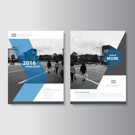 Vector opuscolo brochure Flyer design dimensioni del modello A4, rapporto del libro layout di copertina di progettazione annuale, astratti modelli blu di presentazione Vettoriali