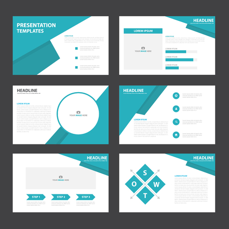 powerpoint: Blue presentation templates Infographic elements flat design set for brochure flyer leaflet marketing advertising