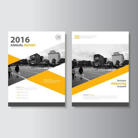 page design: Vector Leaflet Brochure Flyer template A4 size design, annual report book cover layout design, Abstract yellow presentation templates
