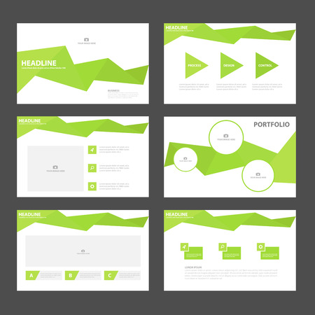 powerpoint: Green polygon presentation templates Infographic elements flat design set for brochure flyer leaflet marketing advertising