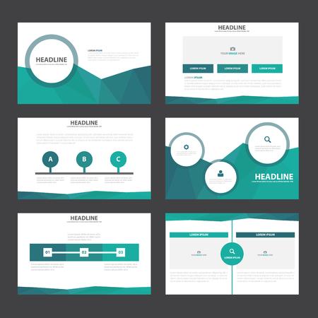 Blue green polygon presentation templates Infographic elements flat design set for brochure flyer leaflet marketing advertising