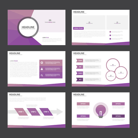 Purple polygon presentation templates Infographic elements flat design set for brochure flyer leaflet marketing advertising