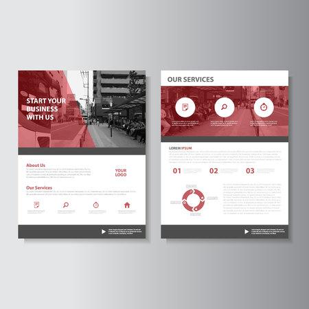 赤雑誌年次報告書チラシ パンフレット フライヤー テンプレート デザイン、装丁レイアウト、抽象的なプレゼンテーション テンプレート  イラスト・ベクター素材