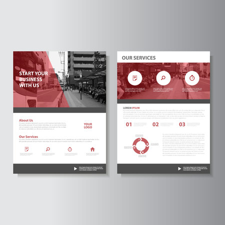 magazine design: Red Magazine annual report Leaflet Brochure Flyer template design, book cover layout design, Abstract presentation templates