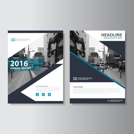 Noir Vector rapport annuel Dépliant Brochure Flyer conception de modèle, conception couverture du livre de mise en page, Résumé des modèles de présentation bleu Vecteurs