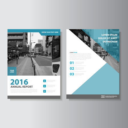 Blue Vector annual report Leaflet Brochure Flyer template design, book cover layout design, Abstract green presentation templates