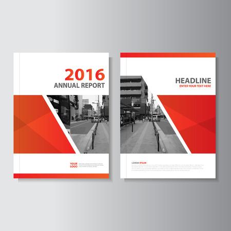 Red Vector rapport annuel Dépliant Brochure Flyer conception de modèle, conception couverture du livre de mise en page, Résumé des modèles de présentation rouge