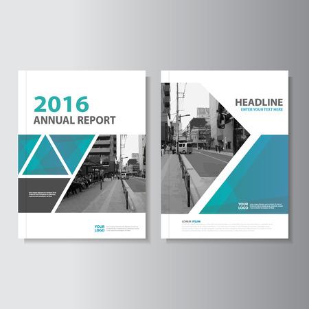 Niebieski zielony Wektor roczne sprawozdanie Broszura Ulotka Ulotka szablon projektu, projekt layoutu okładki książki, streszczenie niebieski zielony szablony prezentacji Ilustracje wektorowe