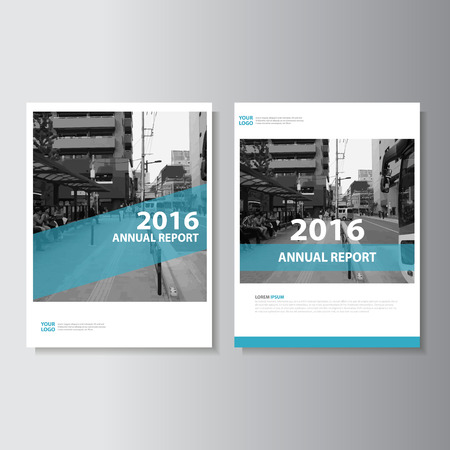 Simple Blue Vector annual report Leaflet Brochure Flyer template design, book cover layout design, Abstract blue presentation templates Ilustração