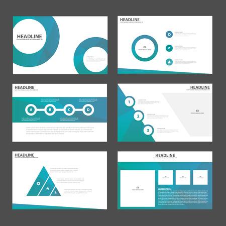 Blue Circle presentatiesjablonen Infographic elementen plat ontwerp set voor brochure flyer folder marketing reclame Stock Illustratie
