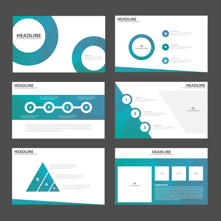 Blue Circle presentation templates Infographic elements flat design set for brochure flyer leaflet marketing advertising Иллюстрация