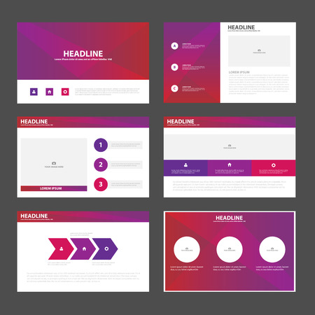 Purple pink presentation templates Infographic elements flat design set for brochure flyer leaflet marketing advertising 向量圖像