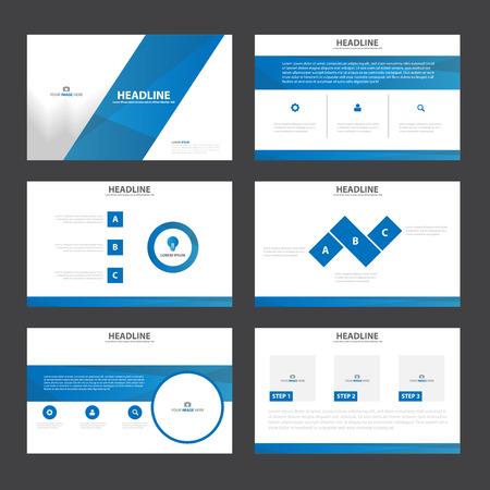 Blue presentatiesjablonen Infographic elementen plat ontwerp set voor brochure flyer folder marketing reclame Stock Illustratie