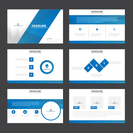 layout: Blue presentation templates Infographic elements flat design set for brochure flyer leaflet marketing advertising