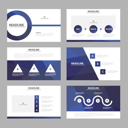 Presentación azul plantillas de elementos de Infografía conjunto diseño plano para el aviador folleto publicitario de marketing folleto Foto de archivo - 54786660