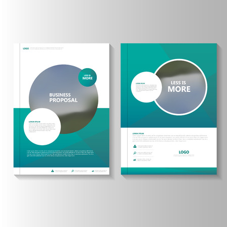 Circle Green Vector annual report Leaflet Brochure Flyer template design, book cover layout design, Abstract green presentation templates Çizim