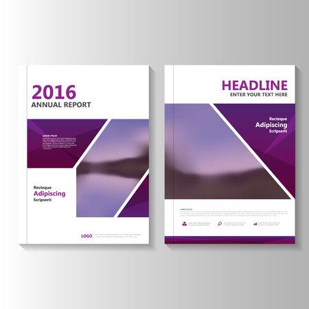 Paars Vector jaarverslag Pamflet Brochure Flyer template ontwerp, de cover van het boek lay-out ontwerp, Abstracte paarse presentatiesjablonen