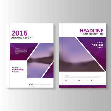 business graphics: Purple Vector annual report Leaflet Brochure Flyer template design, book cover layout design, Abstract purple presentation templates Illustration