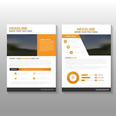 Orange Vector annual report Leaflet Brochure Flyer template design, book cover layout design, Abstract orange presentation templates