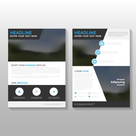 Elegantie Vector jaarverslag Pamflet Brochure Flyer template ontwerp, de cover van het boek lay-out ontwerp, Kort zwart presentatiesjablonen