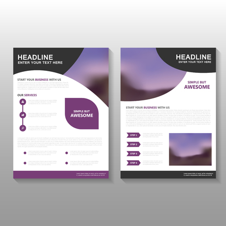 Purple Vector Business proposal Leaflet Brochure Flyer template design, book cover layout design, Abstract purple presentation annual report templates Çizim