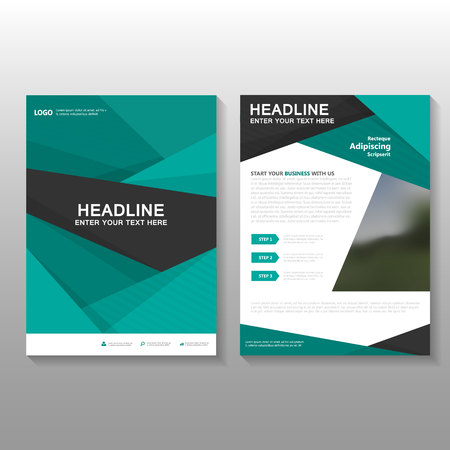 Green Business proposal Leaflet Brochure Flyer template design, book cover layout design, Abstract green presentation annual report templates