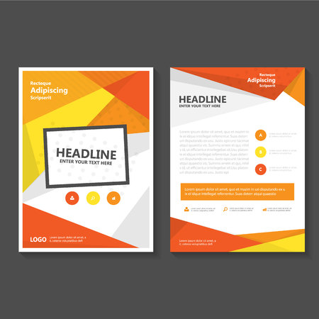 Orange yellow Business Brochure Flyer template design, book cover layout design, Abstract orange yellow presentation annual report templates