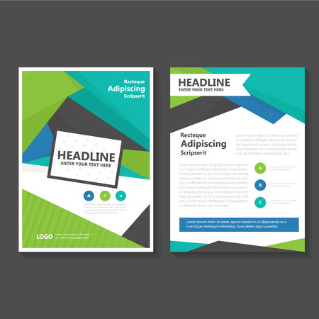 Triangle Blue Green Vector annual report Leaflet Brochure Flyer template design, book cover layout design, Abstract blue green presentation templates