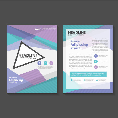 Purple Green Vector a4 Leaflet Brochure Flyer template design, book cover layout design, Abstract purple green presentation templates