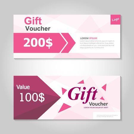 Premium pink gift voucher template layout design set, certificate discount coupon pattern for shopping vector