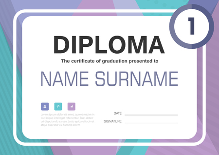 honour: Purple blue A4 Diploma certificate background template layout design Illustration