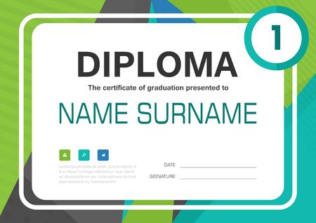 Green blue A4 Diploma certificate background template layout design Illusztráció
