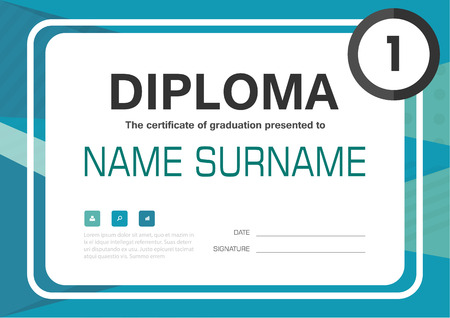 a4: Green blue A4 Diploma certificate background template layout design Illustration
