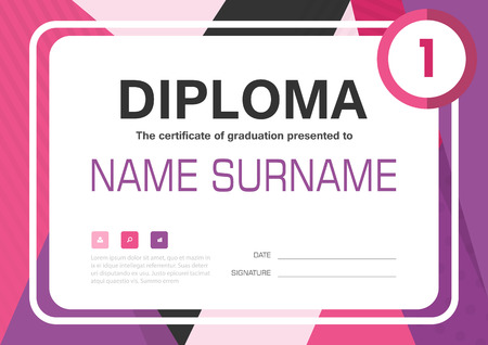 54785965 pink purple a4 diploma certificate background template layout design