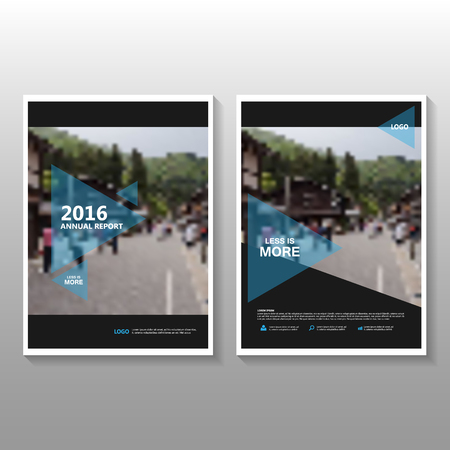 annual: Triangle blue Vector annual report Leaflet Brochure Flyer template design, book cover layout design, Abstract blue presentation templates