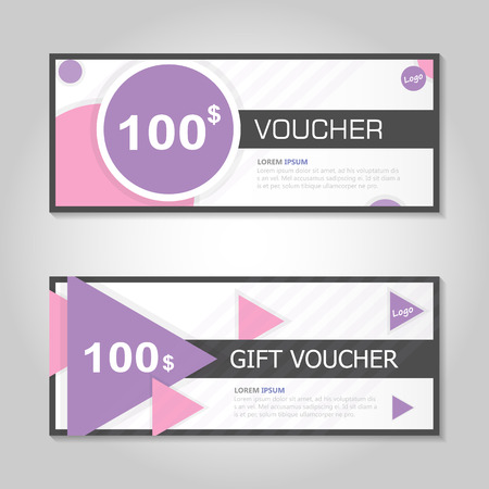 Pink purple gift voucher template layout design set, certificate discount coupon pattern for shopping vector Stock Illustratie