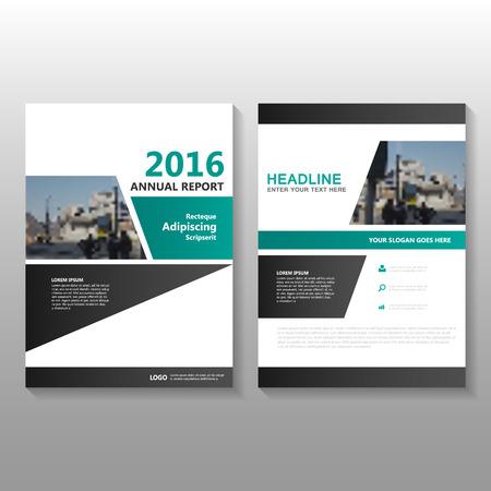 緑黒年次報告書チラシ パンフレット フライヤー テンプレート デザイン、ブックカバーのレイアウト デザイン、緑の要約プレゼンテーション テン  イラスト・ベクター素材